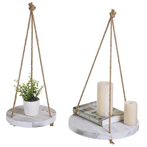 MyGift Round Whitewashed Wood Hanging Plant Shelves, Set of 2