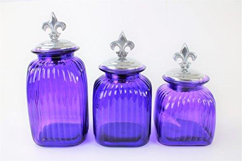 PURPLE 3PC. LARGE GLASS CANISTERS SET (FLEUR DE LIS, SILVER)FREE SALT & PEPPER