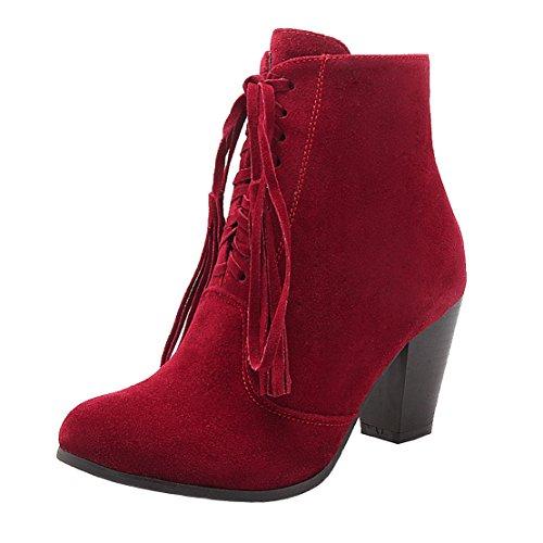 AIYOUMEI Damen Wildleder Blockabsatz High Heel Stiefeletten Absatz mit Fransen und 8cm Absatz Stiefeletten Ankle Stiefel Schuhe Rot 153c1c