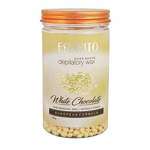 Estavito White chocolate Hard Beans Depilatory Stripless Wax 400gm with free wooden applicators Used for Upper lips…