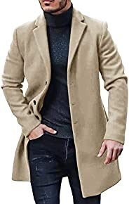Makkrom Men's Stylish Business Trench Topcoats Heavyweight Winter Single Breasted Trench