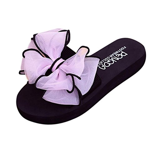 Clode® Damen Frauen Sommer Bowknot Sandalen Slipper Indoor Outdoor Beach Schuhe Rosa