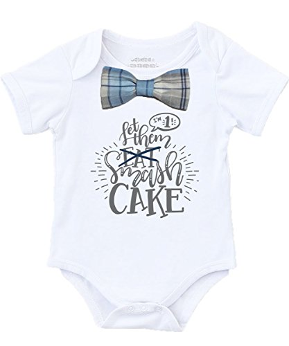 ced89985e283 Noah's Boytique Cake Smash Outfit Boy with Blue Gray Navy Plaid Bow Tie  Grey Writing First Birthday Shirt No Suspenders 18-24 Months