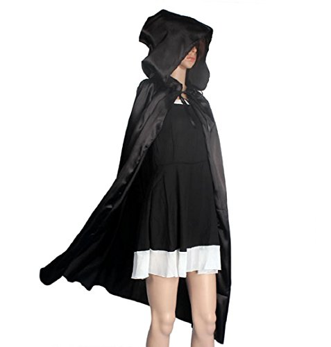 Adult Halloween Cloak,Crystell Witch Wizard Hooded Cloak Cosplay Costume Cape (S, Black)