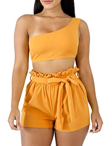 BORIFLORS Womens Sexy 2 Piece Set One Shoulder Crop Top Ruched Shorts Club Jumpsuit,Small,Yellow