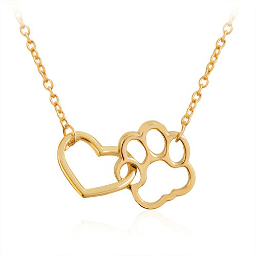 Morrenz - Vintage Hollow Love Heart Necklace Shellhard Cute Simple Pets Dog Cat Paw Footprint Pendant Necklace Women Jewelry