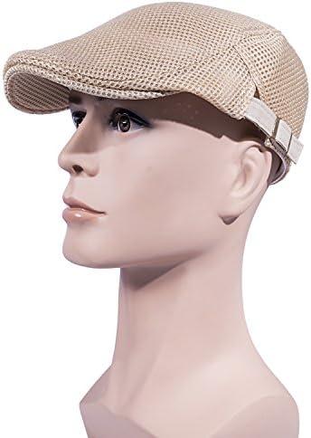 Ousipps 2 Pack Men Breathable Mesh Summer Hat Newsboy Beret Ivy Cabbie Flat Cap