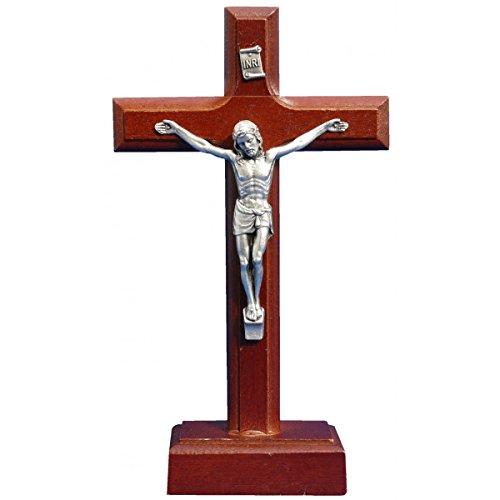 Stehkreuz Holz - Standkreuz - Kruzifix mit Korpus aus Metall, Höhe 18cm
