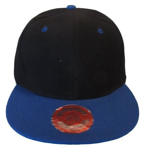 Kid's Youth Flat Bill Snapback Hat - Hip Hop Baseball Cap (Black/Royal Blue)