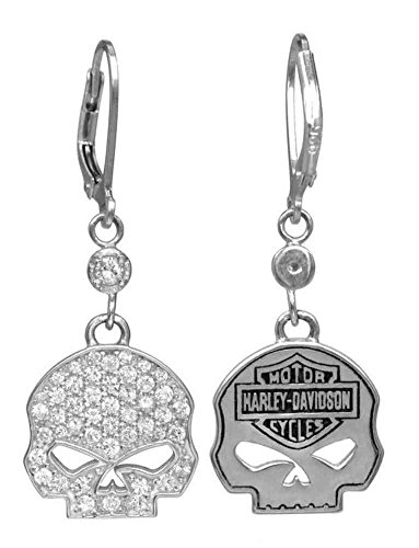 Harley-Davidson Women's Earrings, Bling Willie G Skull Dangles, Silver HDE0224