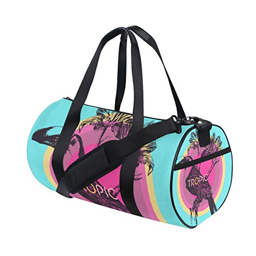 YCHY Vector Handdrawn Illustration Graphic Template Tshirt Water Resistant Gym Sports with independent zipper Travel Duffel Bag for Women and Men