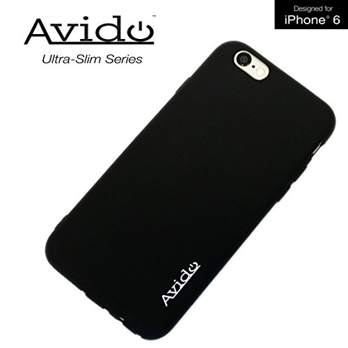 (Avido iPhone 6/6s Case Ultra Slim Series Premium Phone Case with Anti-Dust Cover Protection (All Ports Protected) for Apple (4.7-Inch) 1.2mm TPU - Smooth Black)