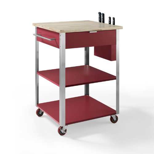 Kitchen Cart Round Butcher Block (Crosley Furniture Culinary Prep Rolling Kitchen Cart - Natural/Red)