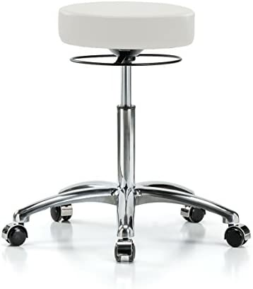 Perch Chrome Stella Rolling Height Adjustable Salon Spa Stool for Hardwood or Tile Workbench Height 21-28.5 Inches 300-Pound Weight Capacity 12 Year Warranty Adobe White Vinyl