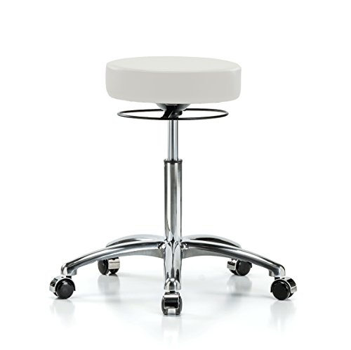 Cheap Perch Chrome Stella Rolling Adjustable Stool Medical Salon Spa Massage Tattoo Office 21″ – 28.5″ (Hard Floor Casters/Adobe White Vinyl)