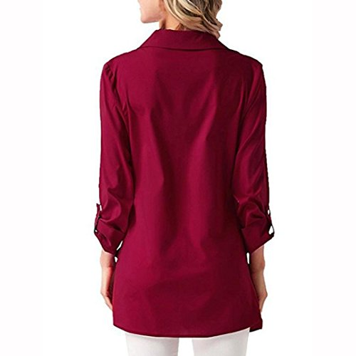 Chemisier Red Longues Col Rond Uni Holywin Manches Femme wd4gBBq