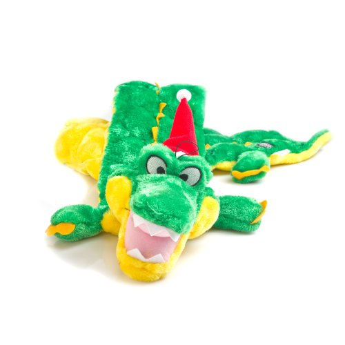 - Outward Hound Kyjen  32094 Holiday Gator Squeaker Mat 32 Squeaker Dog Toy with Holiday Hat, Large, Green