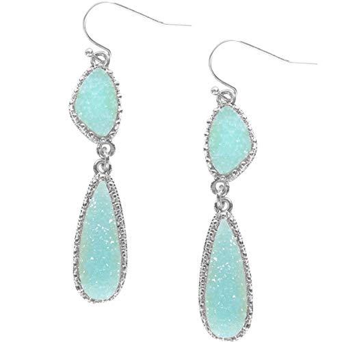 - Humble Chic Simulated Druzy Drop Dangles - Long Double Teardrop Dangly Earrings for Women, Mint Silver-Tone, Light Sky Blue, Pale Green Aqua