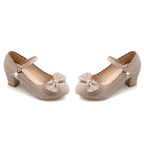 COOLCEPT Mujer Moda Correa de Tobillo Clasico Boca Baja Zapatos Mujer lindo Tacon Bombas Zapatos con Bowknot Beige