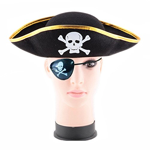 D-Fokes Pirate Skull Captain Costume Cap Halloween Masquerade Party Hat Cosplay Accessories Props with Eye - Skull Hat Pirate
