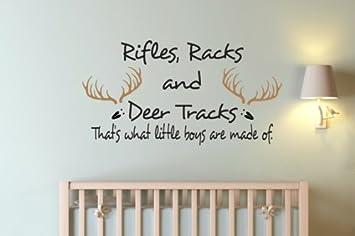 Small Size Vinyl Wall Decal Nursery Monogram Baby Boy Custom Name Antlers  Humor Antler Rifles Racks