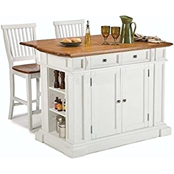 Amazon Com Home Styles Kitchen Island And Stools White