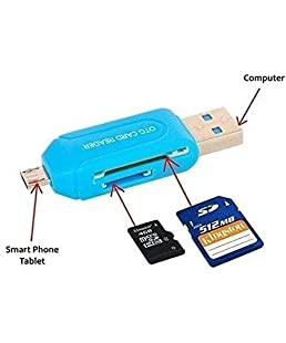 BLUE DIAMOND Multi Use 3 in 1 Micro USB OTG Smart TF Card Reader Adapter with 2.0 USB HUB 480mbps (Multicolour)