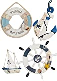 Wooden Nautical Lighthouse Anchor Wall Hanging Ornament, Beach Wooden Boat Ship Steering Wheel Wall Decor, Nautical Life Ring Wall and Door Hanging Ornament Plaque, (White)
