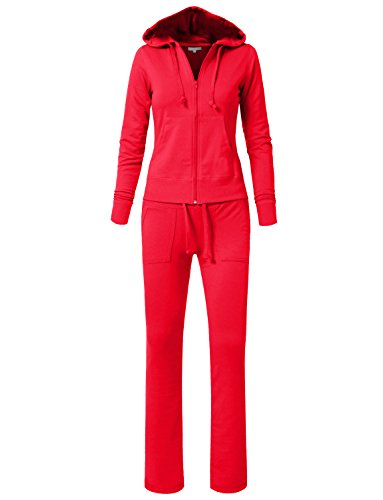 NE PEOPLE Womens Casual Basic French Terry Drawstring Zip Up Hoodie Sweatsuit Set S-3XL