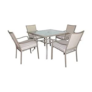 Courtyard Creations SFS5W87 5-Piece Capri Collection Steel Patio Dining Set