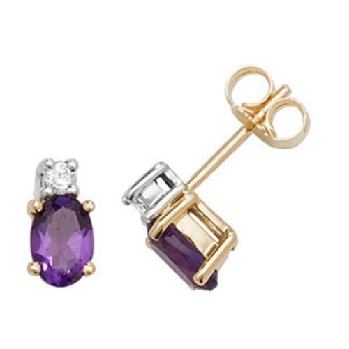 Diamant et Améthyste Ovale Boucles d'oreilles clous or jaune 9carats OV/6x 4