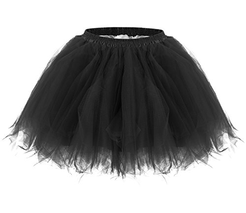 JustinCostume Women's 80's Skirt Neon Rainbow Tulle Petticoat (Small/Large, Black)