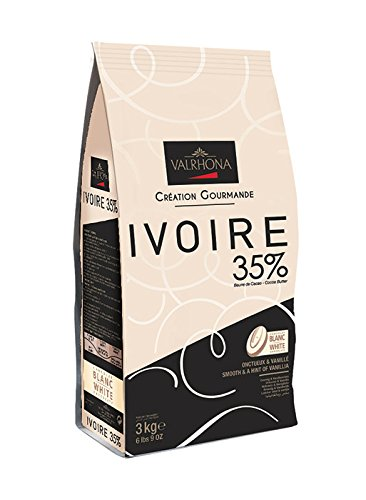 Valrhona White Chocolate Couverture Ivoire 35% cocoa 43% sugar 41.1% fat content 21.5% whole milk - 3Kg - Feves by Valrhona