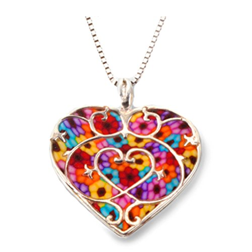 (925 Sterling Silver Heart Pendant Fleur de Lis Love Necklace Multi-Colored Polymer Clay Jewelry, 16.5