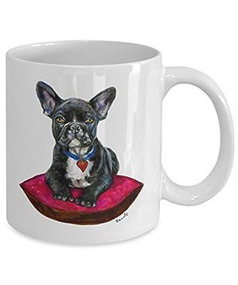 Black French Bulldog on Cushion Mug - Style No.9 - RED - Cute Ceramic Frenchie Coffee Cup (15oz)