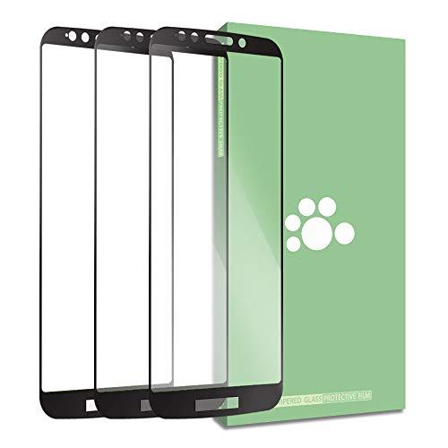 Fit Moto E5 Screen Protector-(3 Packs) SEEU. AGAIN 0.3mm Ultra-Thin Anti-Scratch HD Clear 9H Hardness Full Coverage Silk Print Tempered Glass Protective Film Compatible Motorola Moto E5 XT1944 5.7