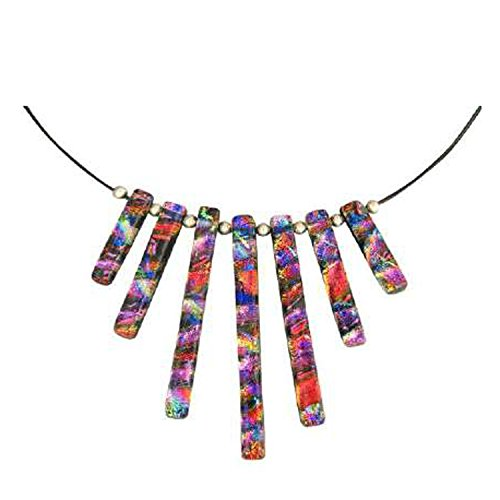 Dreamglass Mexico Sterling Silver Dichroic Pink-Colored Glass Tiered Pendant Necklace, 18