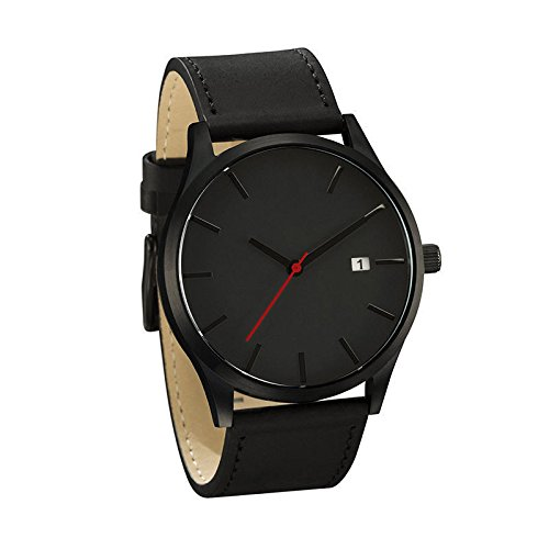 Fashion Men's Analog Sport Wrist Stainless Steel Case Quartz Leather Watch Black (Mrs Christmas Outfit)