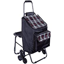 Multipurpose Lightweight Wheeled Shopping Trolley with Front Cooler Bag and Chair , Rolling Push Shopping Trolley Bag, Stair Climbing Shopping Grocery Laundry Utility Cart (Black Stripe)