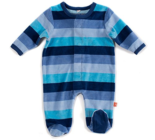 Magnetic Me Striped Velour Baby Footie