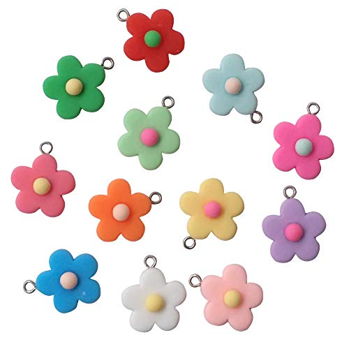AMOBESTER Colorful Flower Pendant Charms Erring Bracelet DIY Jewelry Making Crafting for Chirld Girl