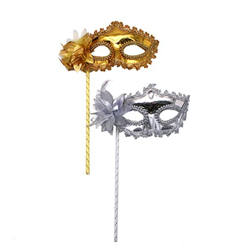 JETEHO 2Pcs Fashion Womens Masquerade Mask Halloween Venetian Mask on a Stick,Silver & Golden -
