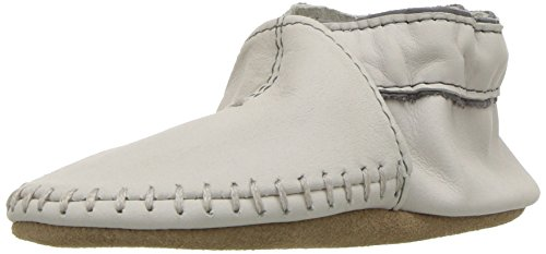 Grey Soft Leather (Robeez Baby Premium Leather Moccasins Crib Shoe, Classic-Grey, 12-18 Months M US Infant)