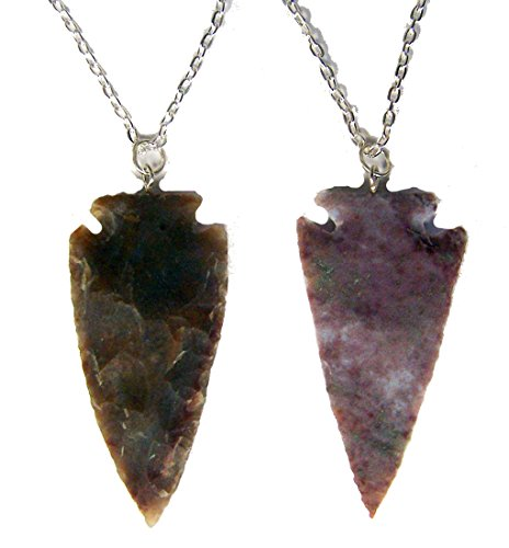 Noveltees 12 Pieces Wholesale Bulk lot Large 2 INCH Real Stone Arrowhead ON 18 INCH Silver Link Chain -