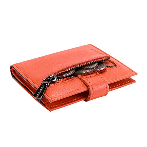 Reeple Women's RFID Blocking Small Compact Bifold Leather Pocket Wallet with ID Window(Orange) by Reeple (Image #4)