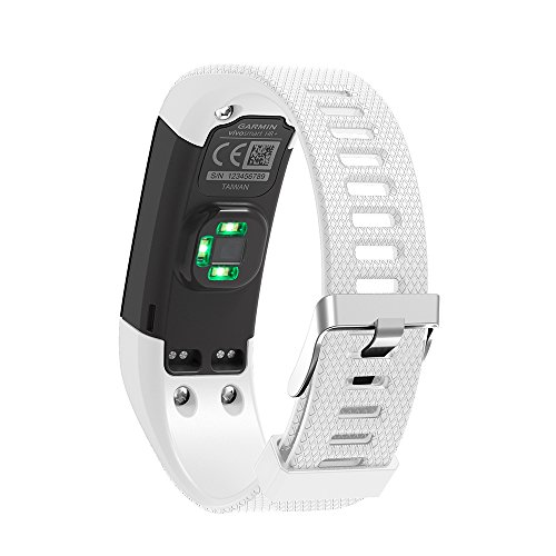 Bands Compatible Garmin Vivosmart HR Plus, Soft Adjustable Silicone Replacement Wristband Sport Watch Strap Accessory Band with Tool and Screw for Garmin Vivosmart HR+ Smartwatch (White)