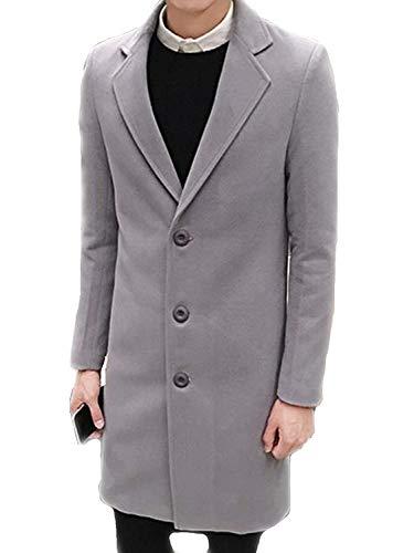 Slim coat Manteau Hommes De Grau Laine Veste Hiver Chaud College D'hiver Revers Long Manches Fit Longues À Trench Rqw6n8HR
