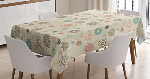 Ambesonne Winter Tablecloth, Retro Style Christmas Pattern with Various Gentle Snowflake Motifs Vintage Pastel, Dining Room Kitchen Rectangular Table Cover, 60 W X 84 L Inches, Multicolor
