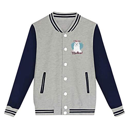 I Love My Maltese Baseball Uniform Jacket Sports Coat for Youth Girls Boys