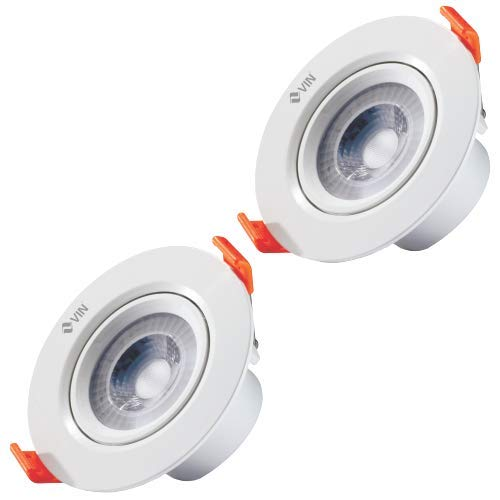 VIN Anti-Glare LED Round Spotlight – Dsl 6 (Cool White, 6w) Pack of 2